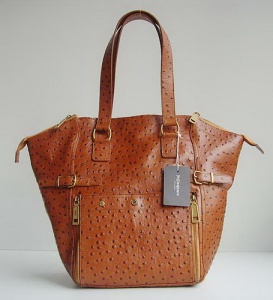 YSL Downtown Tote Ostrich Hide